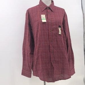 Haggar clothing mens plaid button up shirt sz L